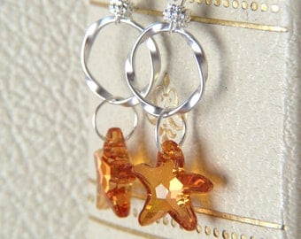 Crystal Starfish Earrings - Rings and Swarovski Crystal Earrings - Dangle Earrings - Glitter Earrings - Beach Summer Jewelry - Boho Earrings