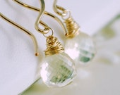 Scapolite Gemstone Earrings, Neutral AAA Semiprecious Stone, Wire Wrapped, Sterling Silver or Gold Jewelry, Free Shipping