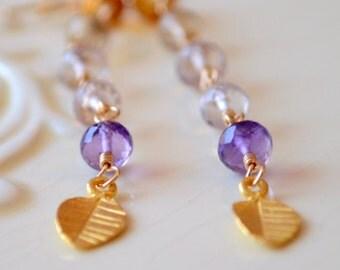 Long Gemstone Earrings, Champagne Citrine Ametrine Pink Amethyst, 24K Vermeil Leaf, Bohemian Boho Jewelry Gold Filled, Free Shipping