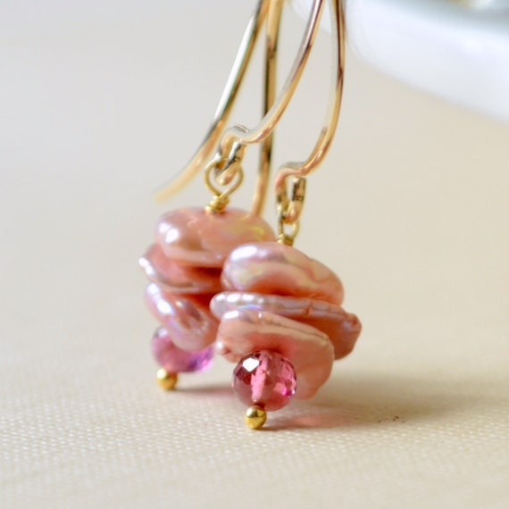 Genuine Tourmaline Earrings, Pink Keishi Keshi Freshwater Pearls, Wire Wrapped, Sterling Silver or Gold Jewelry, Free Shipping