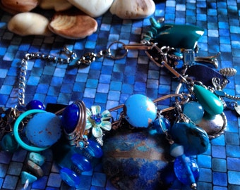 Recycled/Upcycled Blues Charm Bracelet