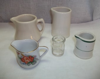 Vintage Lot of Five Individual Creamers Restaurantware
