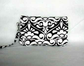 Black and White Damask Diaper Clutch with Pink Lining and Optional Changing Pad