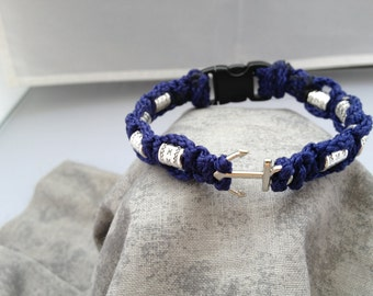 Macrame Anchor Bracelet (Navy Blue)