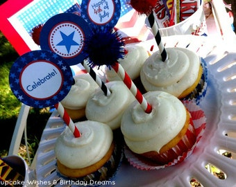 July 4th Printables - Ombre Stars & Chevron - Independence Day - Patriotic - Inauguration - Election Day - printable party kit