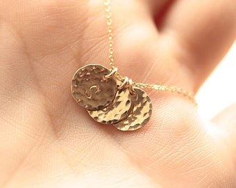 Gold Initial Necklace, Hammered Initials Discs, Personalized Necklace, Three Initial Charms, Mother's Necklace, Gold Filled, Hand Stamped