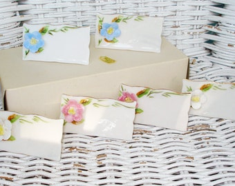 SALE Set of 6 Sheffield Floral Porcelain Placecards