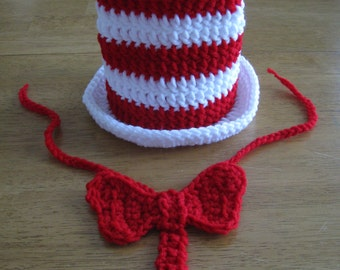Cat in the Hat hat and bowtie - crochet newborn size photo prop / costume