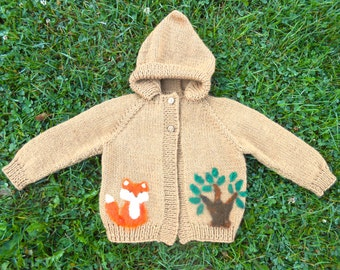 Hooded Wool Sweater, Fox in the Woods, size 18 mos to 2 yrs