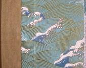 Medium Address Book Ocean Waves Aqua Gold
