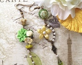 RESERVED for Janice*Queen Tara Inspired Swarovski Pearls Green Yellow Cream White Mismatched Asymmetrical Floral Tensha Earrings - Evergreen