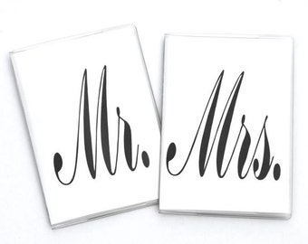 PASSPORT COVERS - Mr. and Mrs. - Pointed Pen Calligraphy - Set of 2