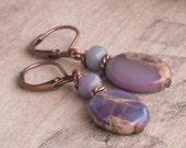 Dusky Jasper and Antique Copper Earrings