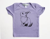 Baby clothes, baby girl gift, 6-12m purple bunny shirt - pineapplepetekids