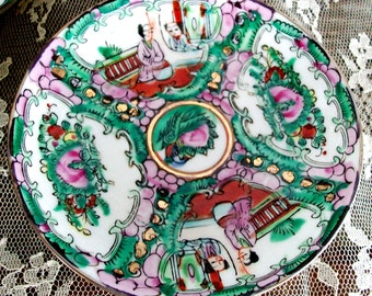 Vintage ROSE MEDALLION Tea SET, 20 Pieces, Pink Green Rust Porcelain, Detailed Design, Hand Painted, Gold Trim, Gorgeous!