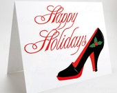 Christmas Card, Happy Holidays Black Pump