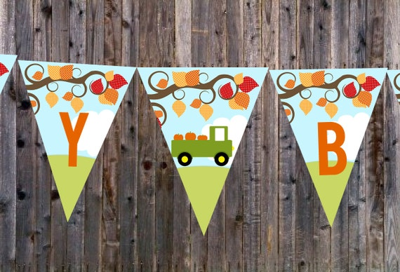 Items similar to PUMPKIN BANNER Truck Fall Tree Printable ...