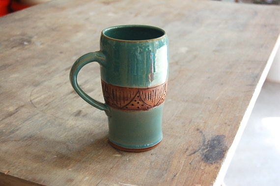 Stoneware Mug, 12 oz Handmade Pottery Cup in Blue and Brown