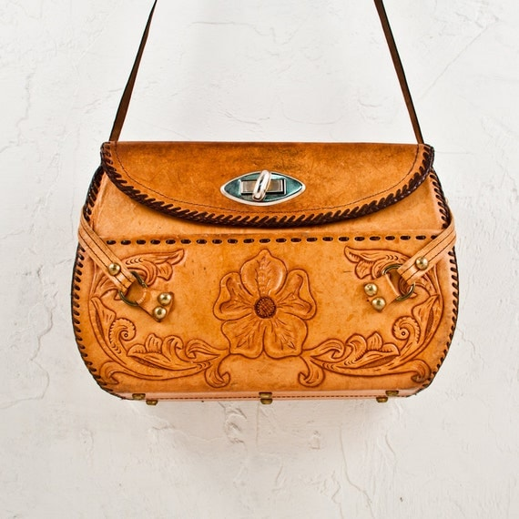 Vintage Purse Bag Tooled Leather Boho Gypsy Chic Fall Trends