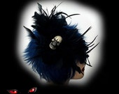 Skulll Hat Goth Black Feather Fascinator with Skull