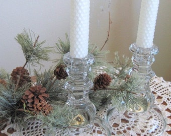 White Beeswax Candles plus Elegent Glass Candleholders