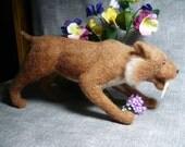 Saber Toothed Lion / Tiger  Needle Felted OOAK
