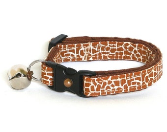 Animal Print Cat Collar - Giraffe - Small Cat / Kitten Size or Large Size