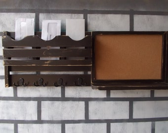 Mail Organizer/Corkboard Message Center/Coat Hook Rack