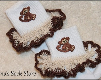Pageant Socks Crocheted Ruffle Lace  Fun MONKEY