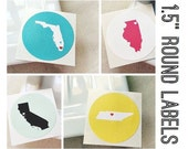 "Custom State Heart Labels. Personalized wedding round labels stickers seals. Choose your city & state. 1.5"" Size"