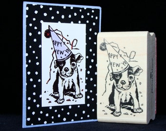 new year dog rubber stamp