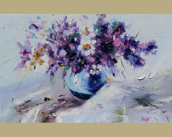 Print on canvas Original Painting A Ball Full of Happiness Colorful Flowers Purple White Daisies Textured Romantic  ART by Marchella