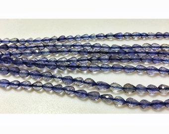 Iolite Beads/ AAA Gems/ Faceted Beads/ Iolite Briolette Beads, Tear Drop Beads, 4x4mm Each, 35 Pieces Approx, 9 Inch Strand