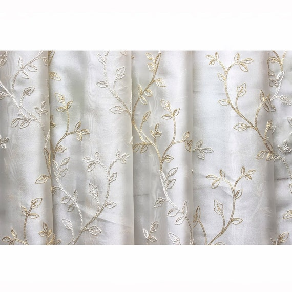 royal leaves embroidered sheer curtain fabric drapery window