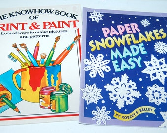 2 Kid's Arts & Crafts Books, Printing and Painting, Making Snowflakes