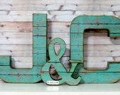 Wedding Letter Set -Large- with Ampersand, Rustic Wedding Decor - Initials - Custom - Personalized