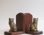 Bookends / Cats / Vintage Brass and Wood