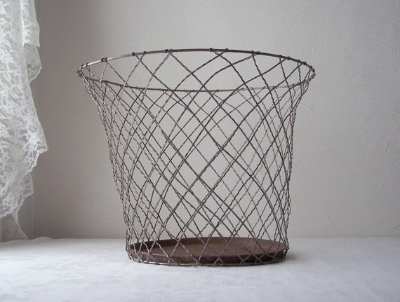 Wire Waste Basket Fascinating With Vintage Wire Basket Trash Can Pictures