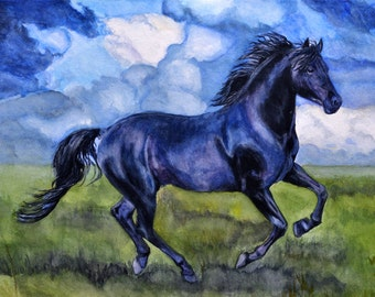 Custom Painted Portrait of your Horse - Original Watercolor Painted by C.Raven, size 12x16 inches