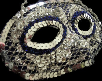 Silver and Blue Mask, Bead and Sequin Handmade Masquerade Ball Mask, Shiny Silver Sequin Mask,Free US Shipping