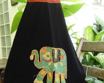 A Shape Black Cotton Skirt with Stitched Cotton Elephant RR0901-13