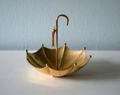 RESERVED Vintage Brass Umbrella Jewelry Holder, Ashtray, Trinket Dish, April Showers, Gold Tone Bowl