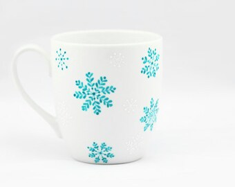 Christmas Gift  Winter tea cup Hand Painted Ceramic Mug white Turquoise snowflakes  white minimalist  kitchen decor Decorative Art