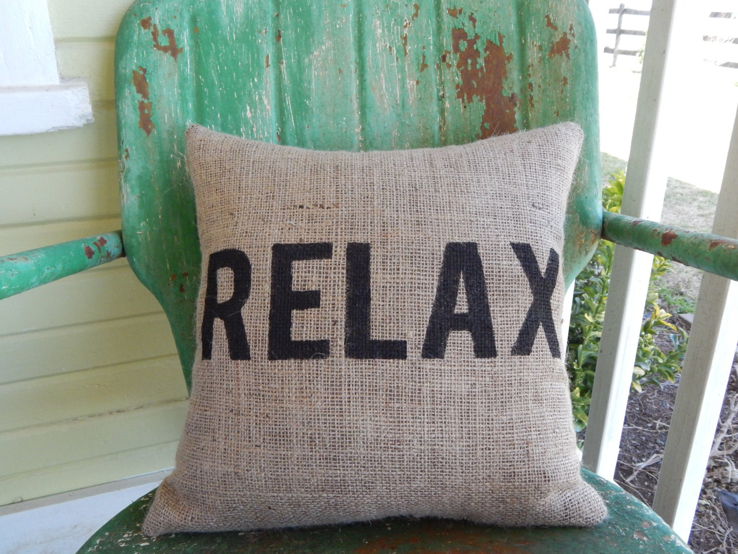 Throw Pillows That Say Relax : Painted Burlap RELAX Decorative Throw Accent Pillow Custom