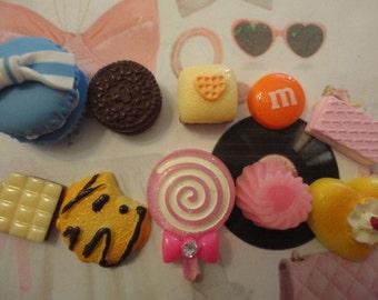 Kawaii yummy sweets decoden deco diy cabochon charm mix   A1  10 pcs---USA seller