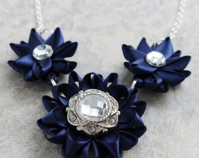Navy Necklace, Navy Bridesmaid Necklace, Navy Jewelry, Navy Blue Jewelry, Navy Flowers, Navy Blue Wedding, Navy Statement Necklace, Floral