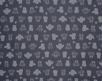 Owl Print Japanese  Indigo Pure Cotton Fabric--One Yard
