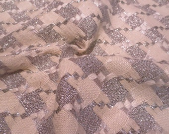SPECIAL--Fabulous Off White with Metallic Silver Raw Silk Tussah Houndstooth Check Fabric--One Yard