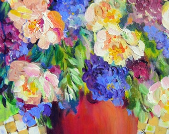 Peonies Still Life Original Painting wall art canvas painting 16 x 20 by Elaine Cory