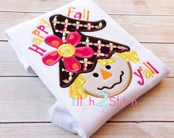 Scarecrow Girl Happy Fall Applique Design For Machine Embroidery, hoop sizes 4x4, 5x7 & 6x10, INSTANT DOWNLOAD now available